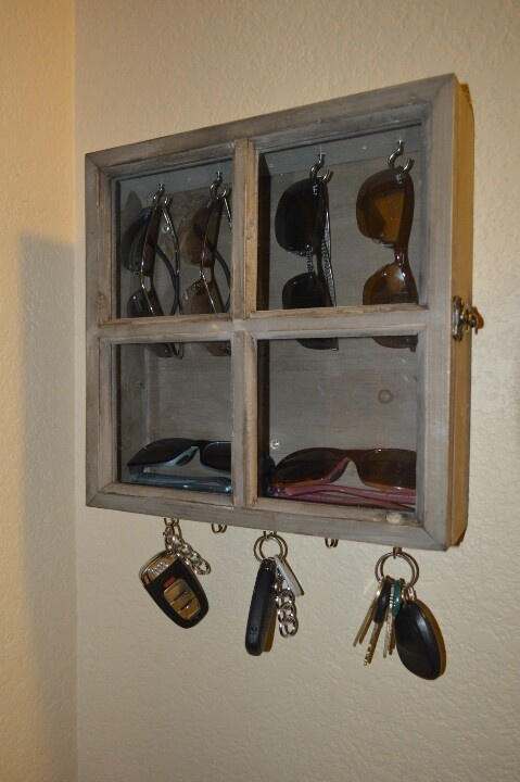 Key and Sunglasses Storage. Put mirror in for window panes to hide glasses?