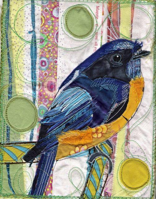 Blue Bird Fabric Portrait by Karin Winter.