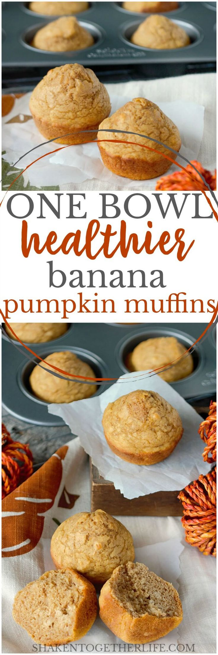 These One Bowl Healthier Banana Pumpkin Muffins are soft, slightly dense and sturdy enough to freeze. Pumpkin pie spice gives them the spicy warmth of nutmeg, cinnamon, cloves and allspice. The bananas add a hint of fruit and keep the muffins tender.
