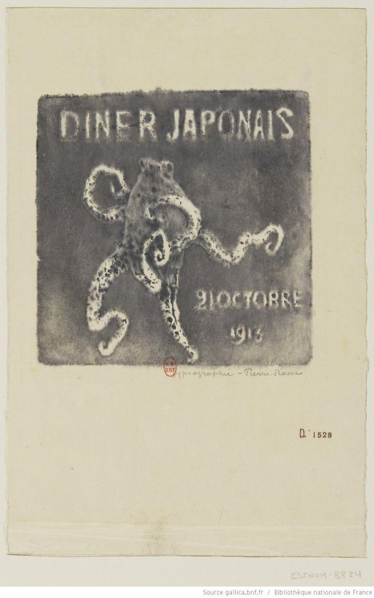 Dîner japonais 21 octobre 1913 : [estampe] / PR, gypsographie Pierre Roche