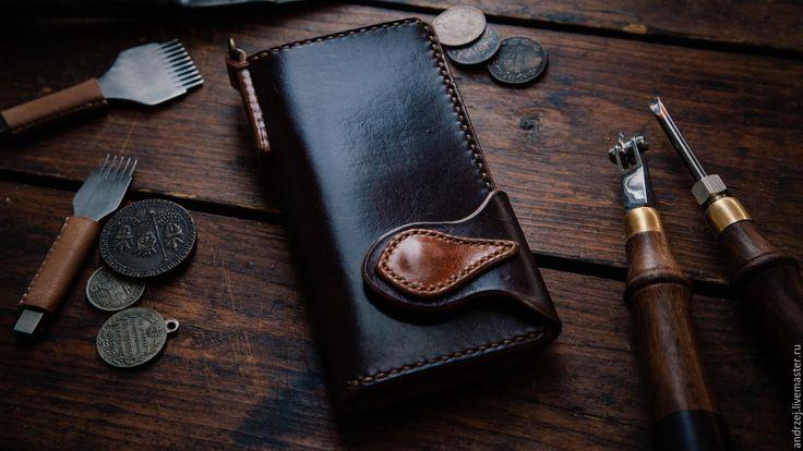 Купить Мужской бумажник (Long Wallet) - ручная работа - коричневый, однотонный, мужской кошелек