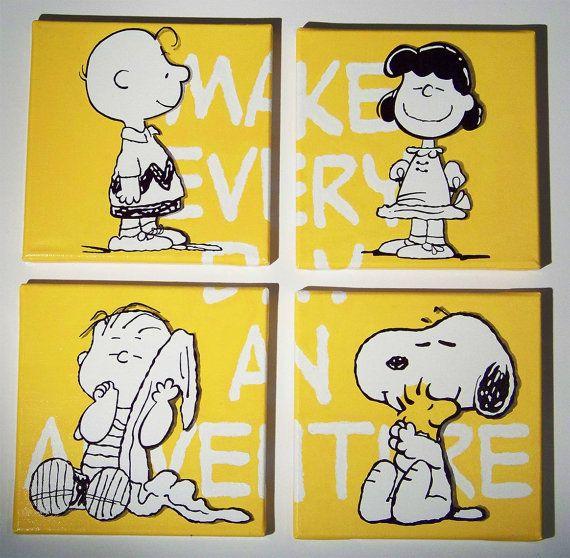 Peanuts set 4 tele Charlie Brown Lucy  Linus Snoopy Woodstock