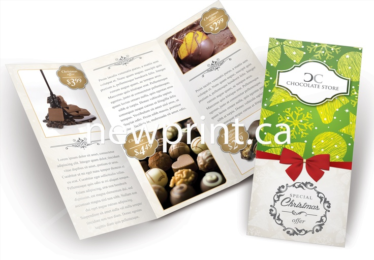 A brochure design ideas for holiday chocolate stores. Designed by Newprint.ca