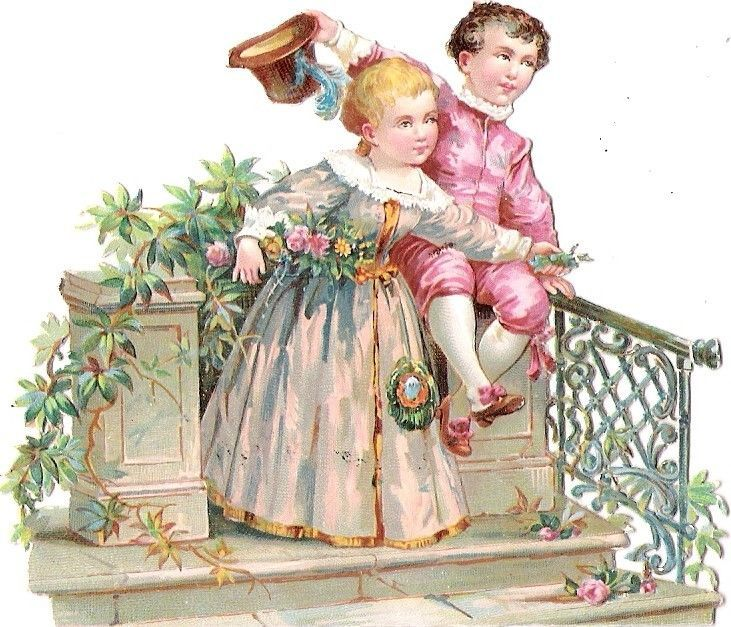 Oblaten Glanzbild scrap die cut chromo Kind child couple Paar  Garten garden