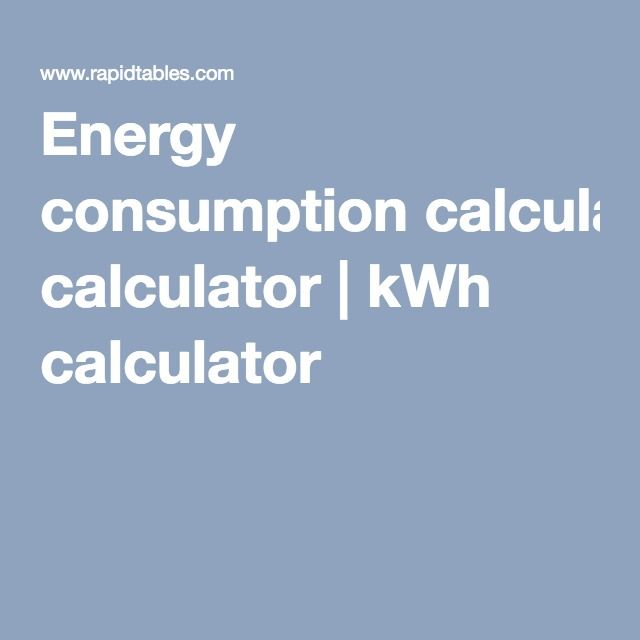 Energy consumption calculator | kWh calculator