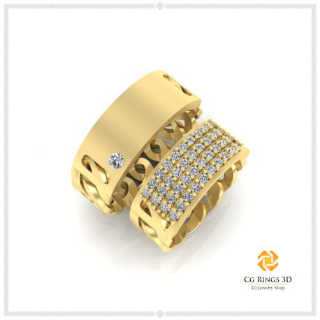 3D CAD Wedding Ring With Diamonds