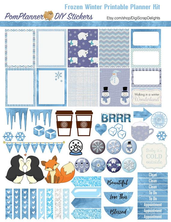 Frozen Printable Planner Kit 5 PDFs Over 300 by DigiScrapDelights
