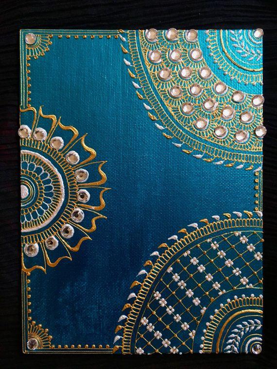 Henna Inspired 6x8 Mandala Canvas Painting