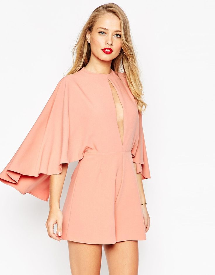 Image 1 ofASOS Occasion Playsuit with Cape and Keyhole