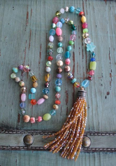 SALE Colorful knotted tassel necklace BeachComber by slashKnots