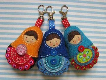 Felt Matryoshka Russian Doll Keyrings