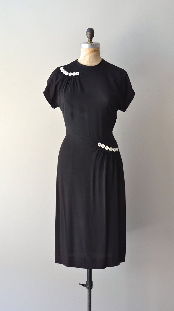 1940s rayon dress | black button trimmed 40s dress