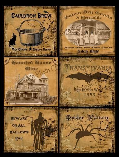 Prim Farmhouse Halloween Labels FH80 | eBay