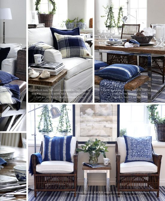 Atwood indigo style blue and white with wood tones living room family room