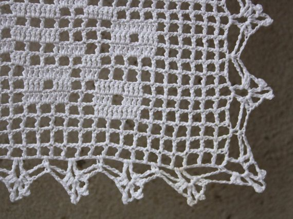 Romantic white filet crochet table doily or runner rustic or