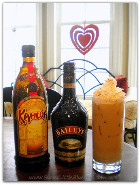 BAILEYS & KAHLUA ICED COFFEE  Ingredients 1 oz Baileys Irish Creme 1 oz Kahlua  4 to 5 oz strong coffee (you can use flavored coffee, vanilla, hazelnut)  Directions Fill glass with ice.  Fill 3/4 of the glass with coffee.  Next, add Baileys and Kahlua, stir. Top with whipped cream and sprinkle with cocoa powder.