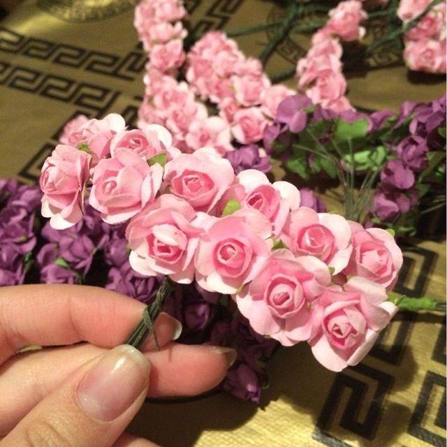 144 adet mini sevimli kağıt gül el yapımı yapay çiçek düğün dekorasyon diy çelenk hediye scrapbooking craft için sahte çiçek