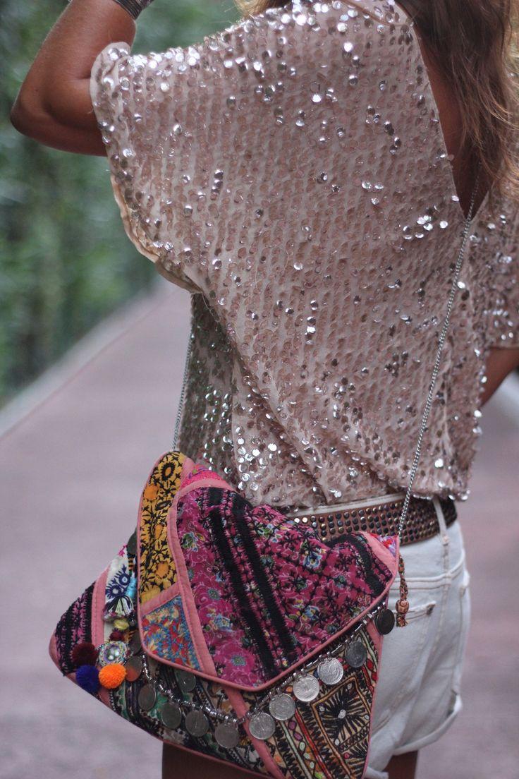I ❤ COLOR PLATA ❤ ACERO top & bag