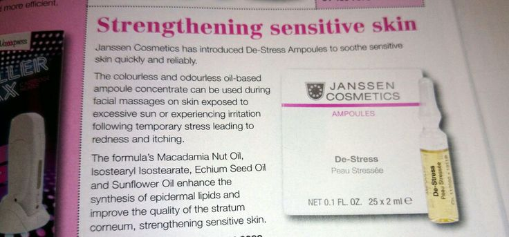 Janssen Cosmetics has introduced De-Stress Ampoles to soothe sensitive skin quickly and reliably!