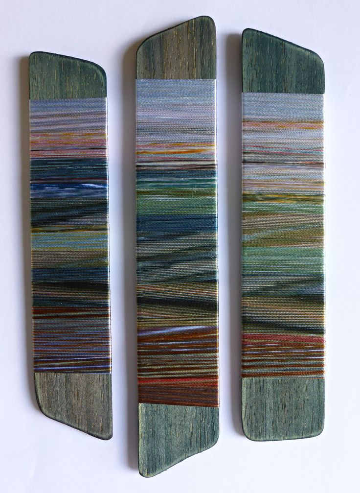 Rhythms of Shores Seas and Light. Hand-dyed threads on wood. Helena Emmans.