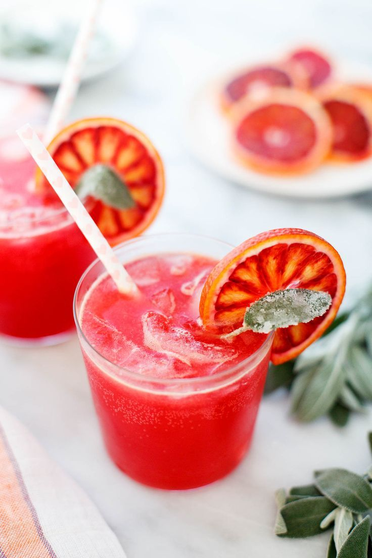 Blood Orange and Sage Sparkling Soda - Snixy Kitchen #valentinesday #recipe #mocktail