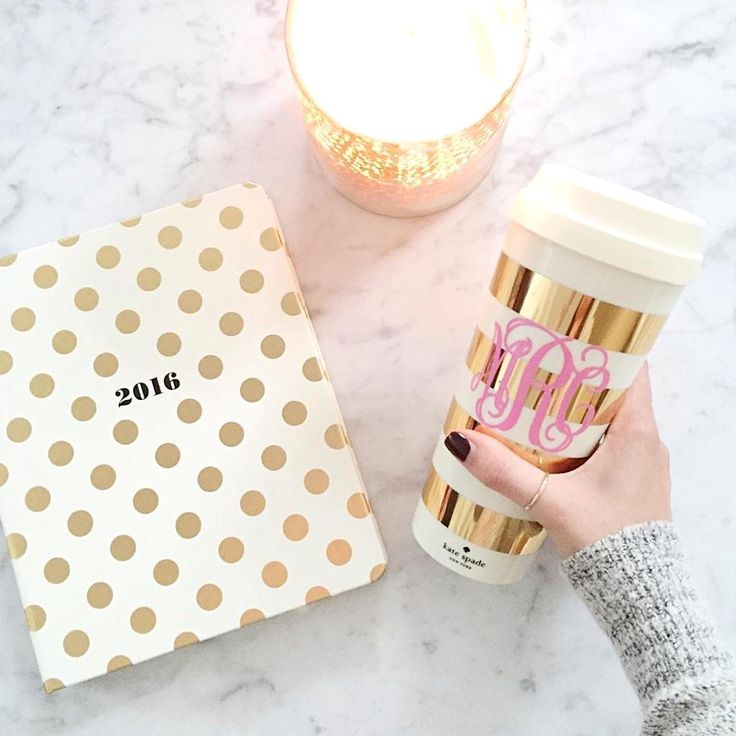 kate spade new york gold deco dots and stripe **swoon** & personalized with a pink monogram? Perfection!