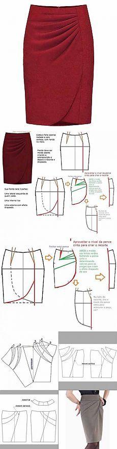 Выкройка юбки с запахом и горизонтальными складками | Искусница