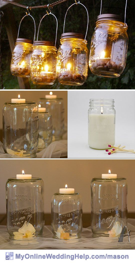Mason jar centerpieces with candles. The wire handles can make them versatile--hang some for decorations or centerpieces above the tables. Set some on the table for rustic looking arrangements. The jar literally as candle is another unique twist.