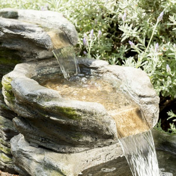 Stone River Water Feature with Lights