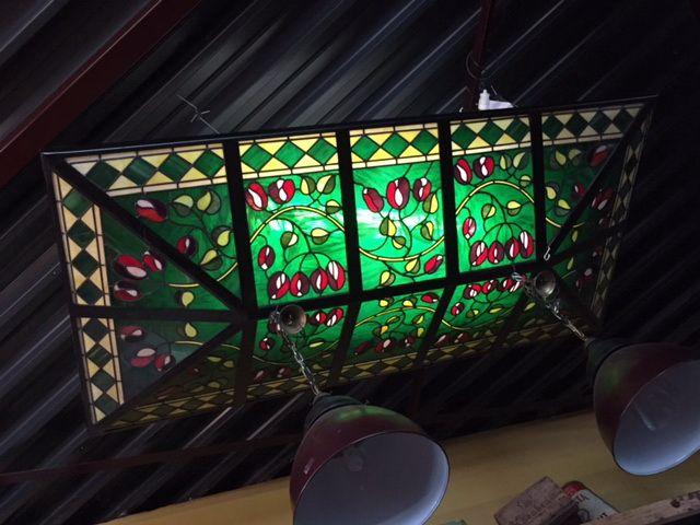 Glas in lood plafond (250x125 cm)    Stained glass Ceiling   Plafondverlichting   Plafonddecoratie   Horeca Interieurbouw   Irish Pub   Engelse pub   Sijf & Dax van Zuilen   Oudewater
