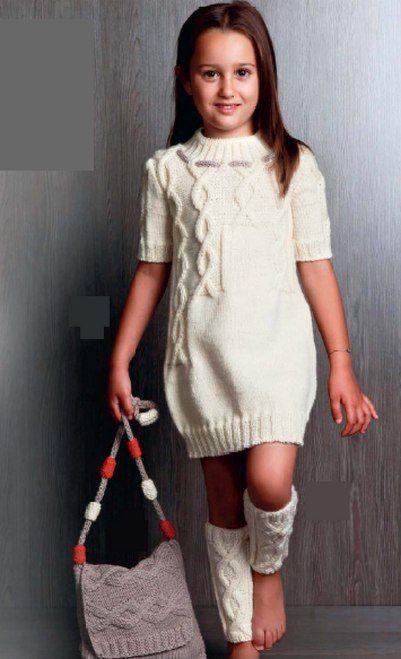 Белое платье, гетры и сумка для девочки