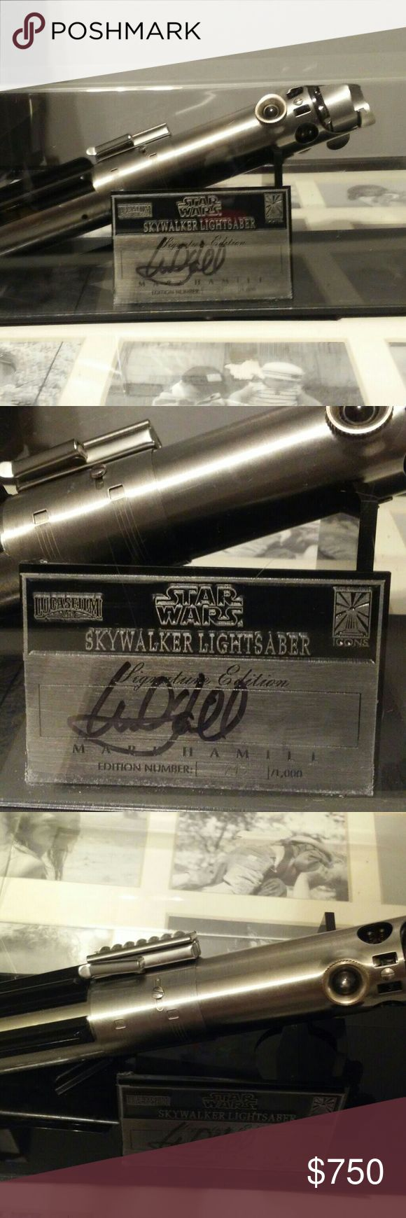 Skywalker lightsaber edtition #213 Icons StarWars Skywalker Lightsaber  This is the Signature edition where they only release 1,000.  Name plate is actually signed by Mark Hamill himself.  You hardly ever see these for sale. Do not have the box or COA. See pictures for condition which in my opinion is great.  Number 213 signature edition..it does have some pieces broken on the back they are two black pieces Star Wars Other