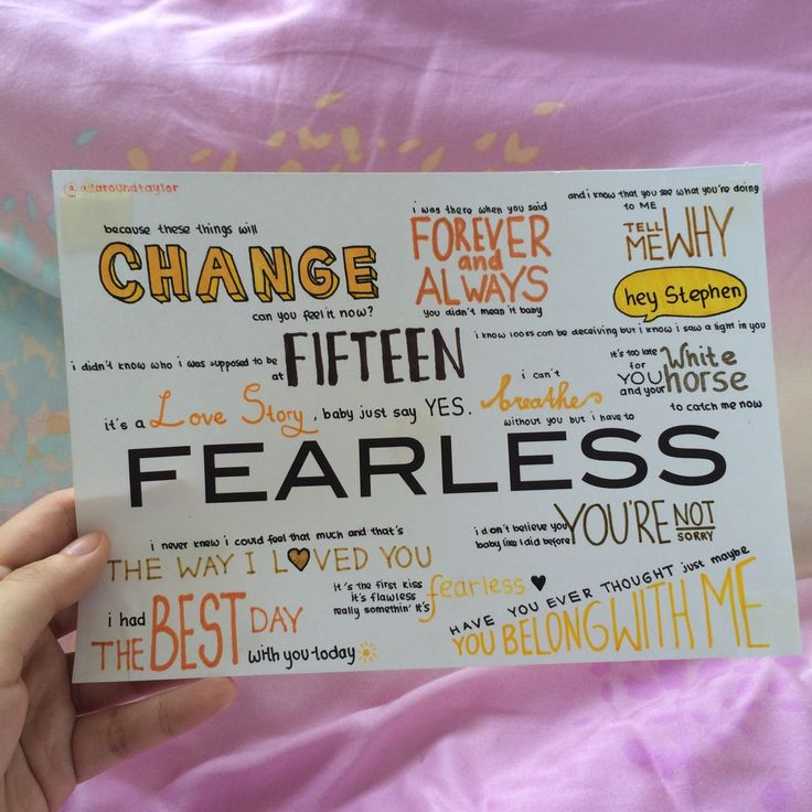 Fearless by Taylor Swift album lyrics, hand drawn by http://allaroundtaylor.tumblr.com/.