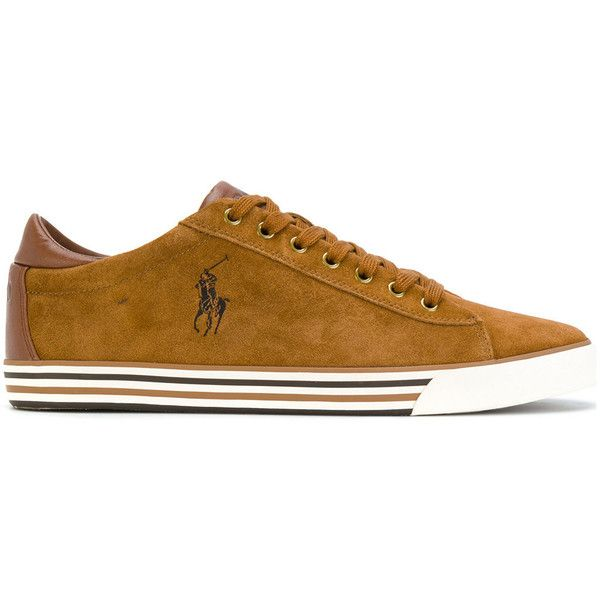 Polo Ralph Lauren Harvey Suede Sneakers (€61) ❤ liked on Polyvore featuring men's fashion, men's shoes, men's sneakers, brown, mens brown leather sneakers, mens brown suede shoes, polo ralph lauren mens sneakers, brown mens shoes and mens suede shoes