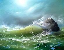 Crashing At The Reef - oil, canvas