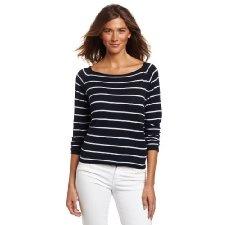 great discounts 50% 525 America Women's Long Sleeve Stripe Pullover, Darkest Indigo Combo