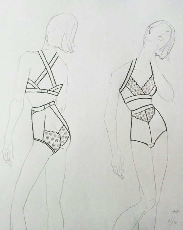 Crossover Lace Bralette with High-waist cut out Lace Briefs.