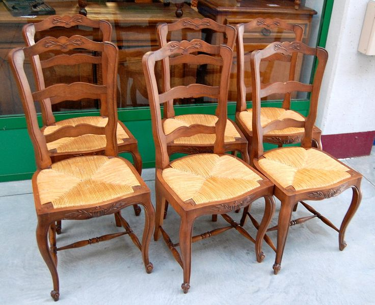 6 sedie provenzali in faggio massello metà '900 scolpite con coppa e rami ulivo