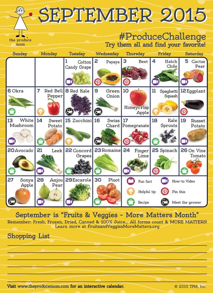 September Produce Calendar Challenge | ! A Permanent Health Kick ! - Healthy Recipes and Fitness ...