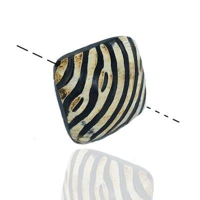 Kralen van hoorn vierkant kussen zebra motief 37mm