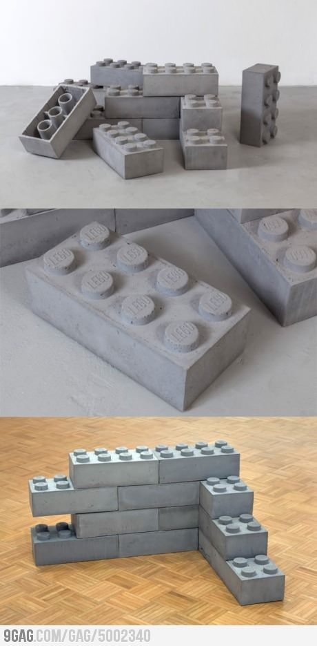 Concrete Legos --- when you get bored with your house, you can just build something else, right?
