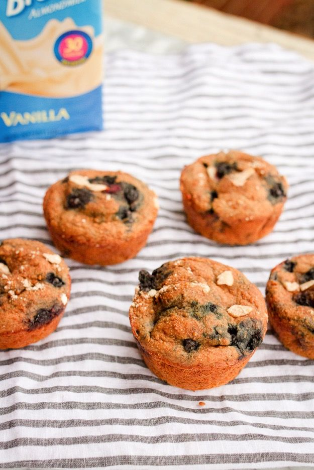Blueberry Almond Muffins -- higher in protein, low in fat and only 100 calories!