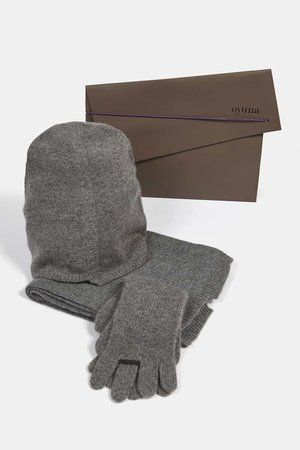 Ring Cashmere Gloves Soft Grey/Slate Grey
