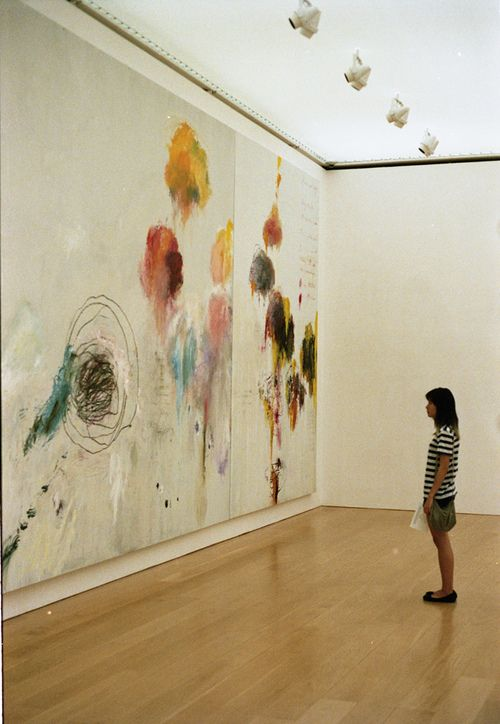 Give me one good reason I shouldn't paint my traditionally light-painted wood paneled walls with bright colors and fluid shapes like this?? (cy twombly gallery by susan xie)
