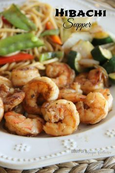 HIbachi Supper at home featuring Shrimp, Lo Mein, and hibachi-style veggies--so much cheaper!