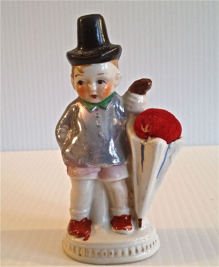 made in japan luster pin cushion boy with thimble holding hat NR /  Dec 26, 2014 / US $5.10