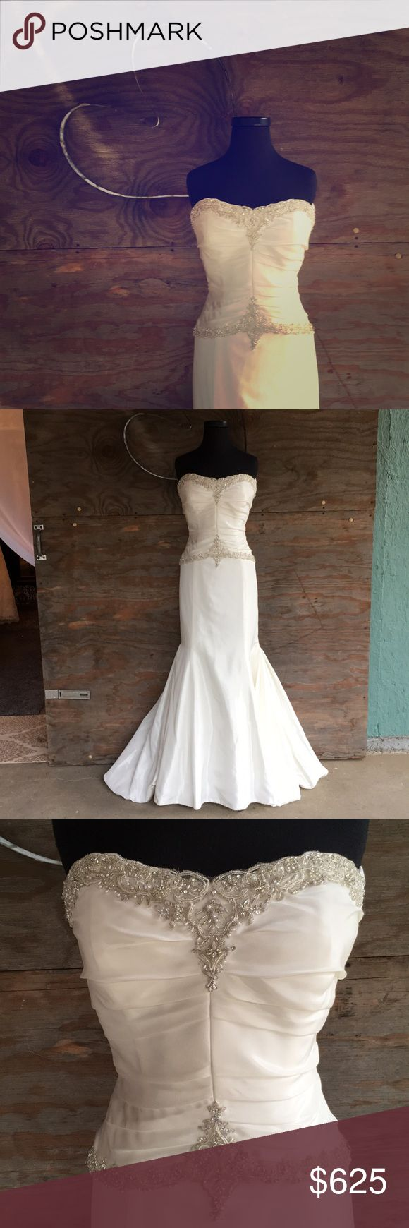 🆕 Alfred Angelo style 2025 Stunning ivory taffeta mermaid gown with pearl and crystal detailing along bodice and trumpet fit. Classic straight hemline in the front with a bubble hemline along train for added drama. Comes with spaghetti straps. Unaltered. Alfred Angelo Dresses Wedding
