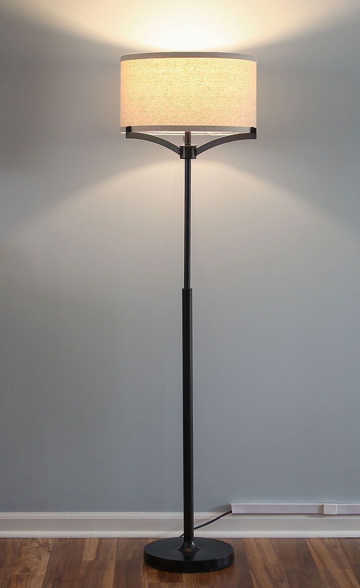 Elijah Led Floor Lamp Tall Pole Free Standing Reading Light Warm Light For Home Office Echo Alexa Com Led Floor Lamp Tall Floor Lamps Linen Lamp Shades