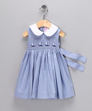 Smocked, sleeveless yoke dress; love the sash--so summery with sailboats