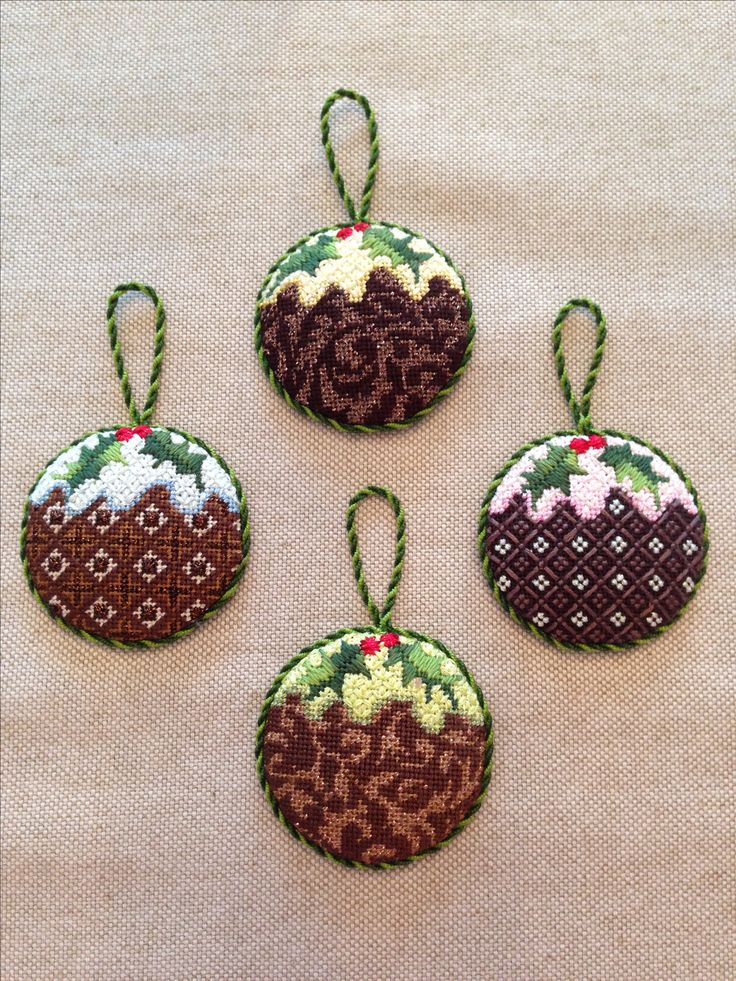 So many wonderful decorative stitches on these Christmas Pudding Ornaments ~ canvases by Kirk & Bradley